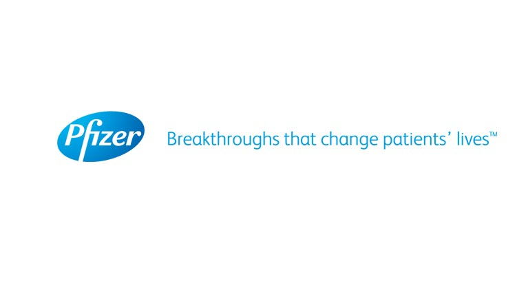 Logo Pfizer mit Claim Breakthroughs that change patient's lives